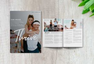 Thrive Health and Wellbeing Magazine - Issue 1 Cover featuring Sam Wood