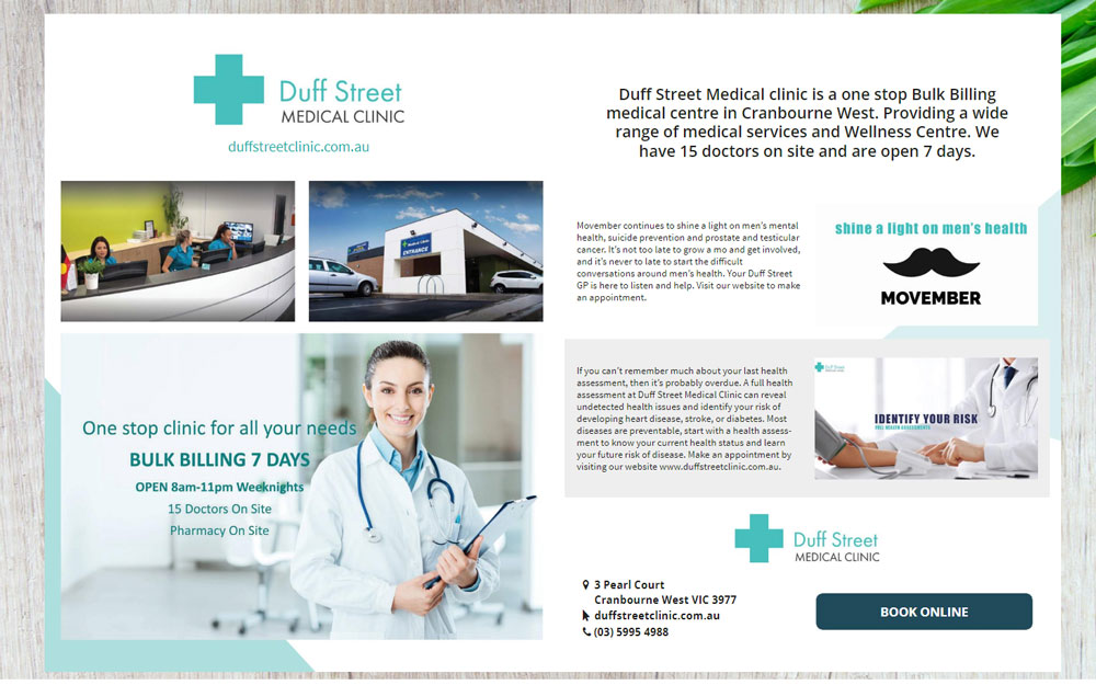 Duff Street Medical Clinic feature in Thrive Magazine