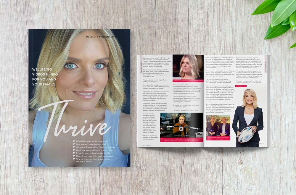 Thrive Magazine - Issue 3 displaying closed front cover and feature story