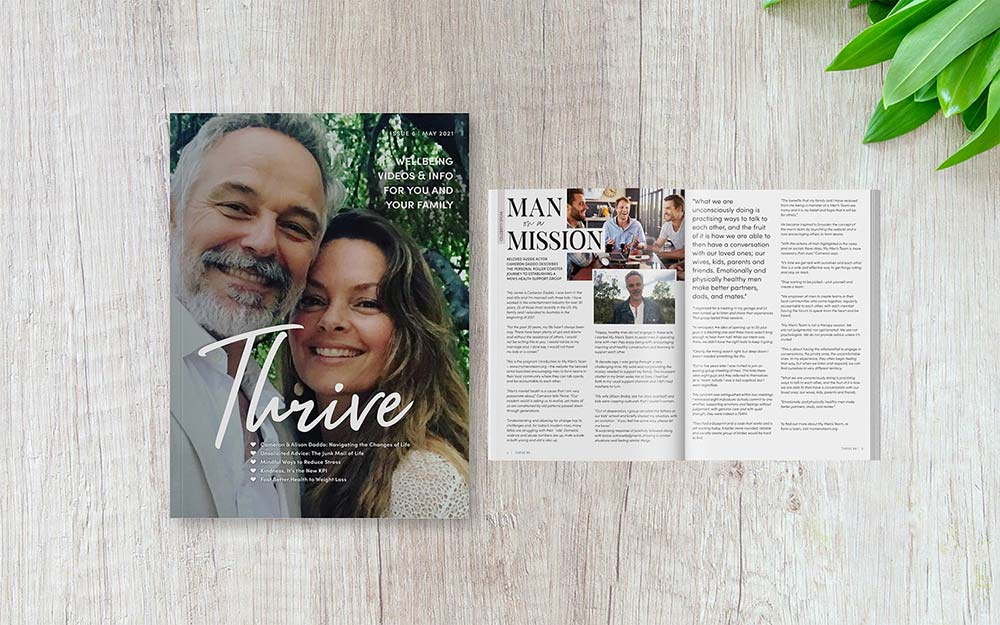 Cover page for Thrive Magazine, Health and Wellbeing E-magazine of Duff Street Medical Clinic